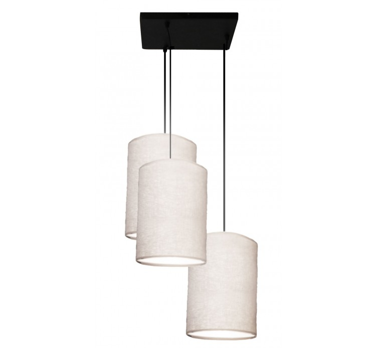 Suspension triple basique et abat jours en lin angel des for Suspension triple luminaire